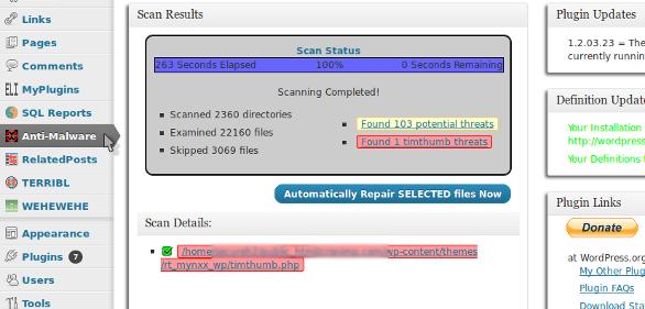 Wordpress Malware Removal Plugin